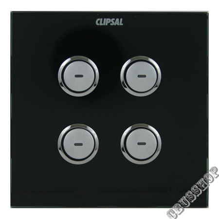 C-Bus E5084NL680 Saturn Input Switch 4 Gang Square Black
