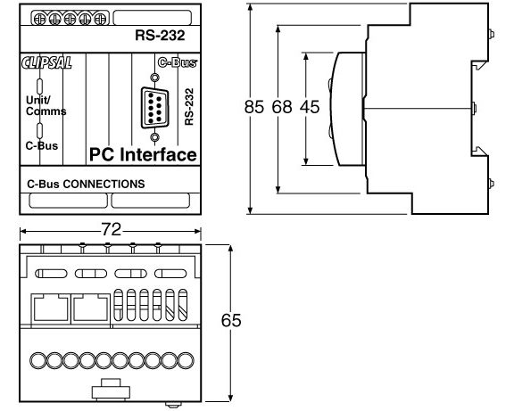 pcinterface_dimensions 5500pc c bus pc interface rs232 laser business systems ltd clipsal c bus wiring diagram at soozxer.org